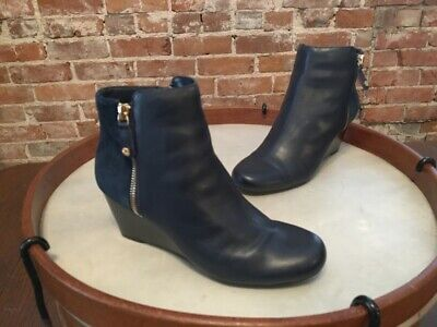 Isaac Mizrahi Navy Blue Leather & Suede Kierra Wedge Ankle Boots NEW