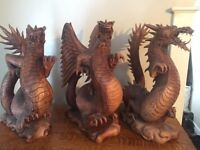 Hand carved suar wood dragons