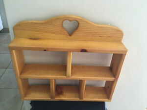 What not shelf solid wood & heart floral shelf