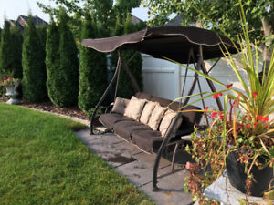 Patio Swing chair, 3 seater, bed with canopy and two table tops