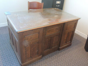 Antique Oak Paneled Executive Office FlatTop Desk