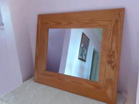 Large Natural Wood Framed Mirror