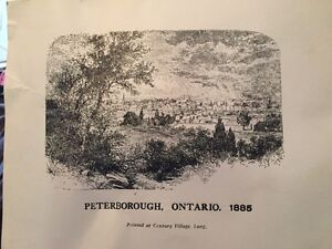Printed picture of Peterborough on card-stock, 1885