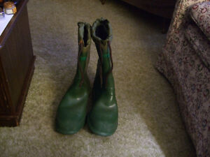 Tall Green Rubber Boots with felt liner