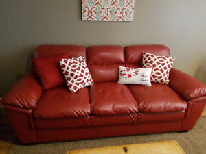 Dark Red Bonded Leather Couch and Chair