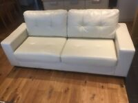 Contemporary cream leather sofa very good condition