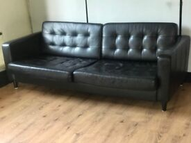 Contemporary Large Modern Black Leather Sofa - 4 seater