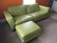 Leather DFS Sofa and stool
