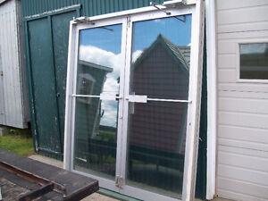 Ensemble de 2 portes commercial en aluminium avec cadre