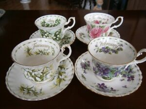ROYAL ALBERT FLOWER OF THE MONTH TEACUPS AT $9.00 EACH