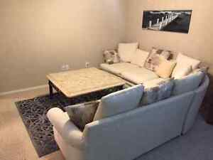 Beautiful White Three-Piece Sofa, Marble Table and Area Rug Set