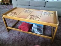 Retro coffee table wood and ceramic £12