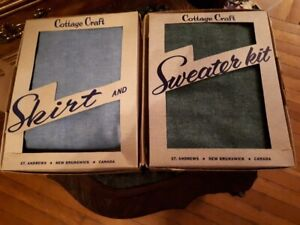 Vintage cottage craft tweeds skirt and sweater kit