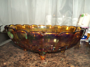 Vintage Iridescent Large Oval Footed Bowl