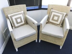 White Wash Hamptons Cane Chairs Shabby Chic Dining Indoor Outdoor Broadbeach Gold Coast City Preview