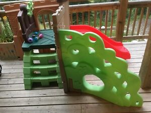 Play slide and rock wall