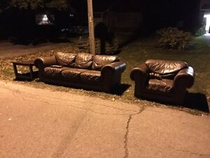 Real leather sofa and chair good condition