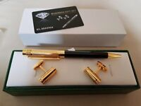 Black and gold cufflinks and pen set
