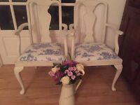 Two beautiful Queen Anne carver chairs Annie Sloan shabby chic. Toile de jouy fabric. Vintage