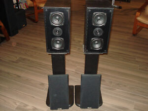 Kenwood Front Speakers and Wooden Stands