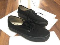 Vans triple black canvas shoes (size 8 uk)