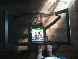 Glass coffee table from brick