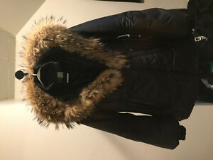 MACKAGE Black Asymmetric Furtrimmed Puffy Coat