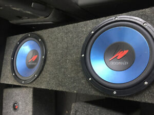 Two ten inch kenwood subs in carpeted box