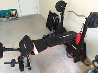 Maximuscle thick back weights bench and weights