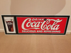 """Drink Coca-Cola Delicious and Refreshing"" Sign 12X36"