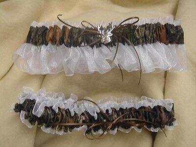 Bridal Garter Set Camouflage Camo WHITE deer MOSSY OAK Country - Camo Garter Set