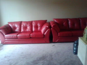 Red faux leather sofa bed London Ontario image 4