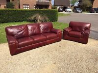 DFS large leather sofa and armchair