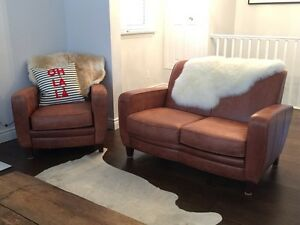 Beautiful leather armchair and couch - distressed real leather