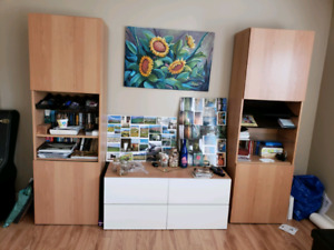 Living space TV stand drawers and bookshelves