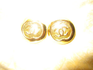 Chanel Earrings Clip On Gold Rare Vintage