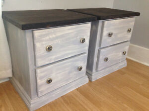 Set of wooden distressed tables