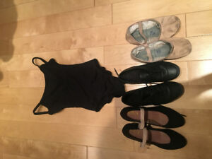 Dance shoes- ballet tap and jazz! and leotard - size 5