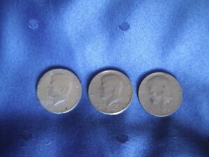 Coins - U.S.A. 50-Cent Pieces, 1971, '72, '74 - Circulated Cond.