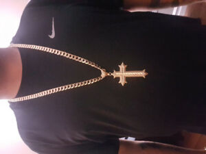 10k gold chain and cross