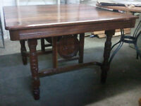 Antique Solid Walnut Victorian Eastlake Table & 4 Chair set