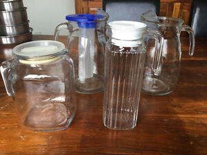 FOUR GLASS WATER JUGS/PITCHERS