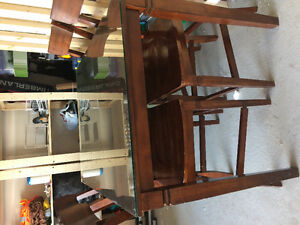 Solid wood dining tables & chair with glass cover on top