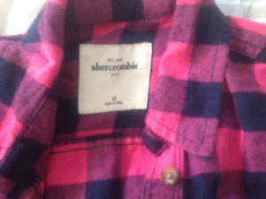 Abercrombie kids Pink check flannel shirt