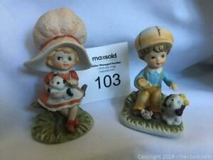 2 Small Children porcelain Vintage Gift craft Little Boy and Girl with bonnets  with a kitten and puppy