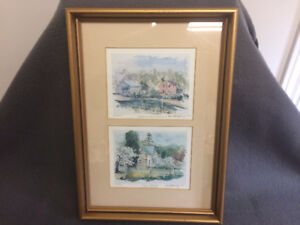 """Peter Snyder Water Colour Prints """"Windmill"""" & """"Stone Farmhouse"""""""