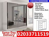 Brand New Chicago180cm Wide Sliding Mirror Wardrobe get your order today St. Paul