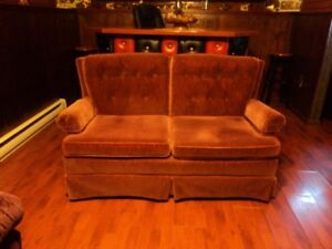 love seat for sale, burnt orange in colour, good condition