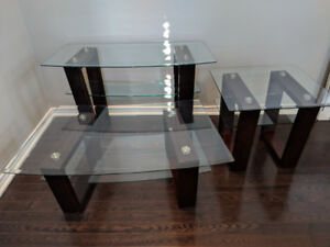 Set of 3 glass tables - Sofa table, Coffee table, and End table.