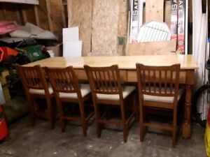 8 Ft. Dining Table and Chairs $400